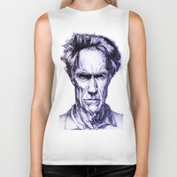 clint eastwood Biker Tanks featuring Clint Eastwood by Bronsolo Illustration