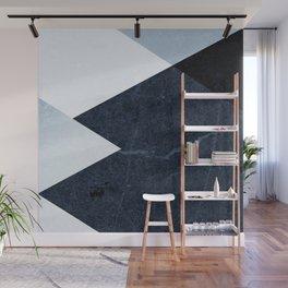 Geometrics II - blue marble & silver Wall Mural