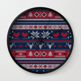 Ugly Christmas Sweater Navy & Red Wall Clock