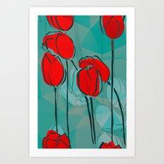 Abstract Tulips Art Print