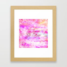JE T'AIME French Typography Font I Love You Romantic Fine Art Pastel Pink Colorful Abstract Painting Framed Art Print