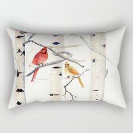 Birch Trees and Cardinal Rectangular Pillow