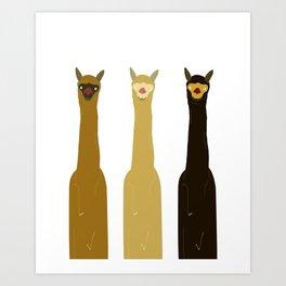 Triple LLAMAS ALPACAS CAMELS Art Print
