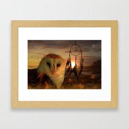 Dream Catcher and Magic Owl Framed Art Print
