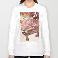 vancouver Long Sleeve T-shirts featuring Vancouver by MapMapMaps.Watercolors