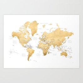 Gold world map with country capitals Art Print