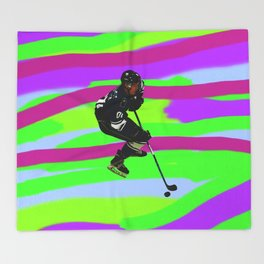Taking Control- Ice Hockey Player & Puck Throw Blanket
