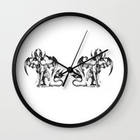 sphynx Wall Clocks featuring Sphynx by STiCK MONSTER iNK