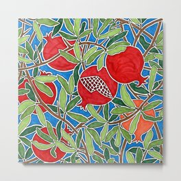 Pomegranate Branches and Fruit Metal Print