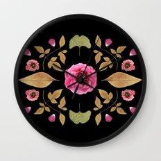 FLOWER COLLAGE N2 BLACK BACKGROUND Wall Clock