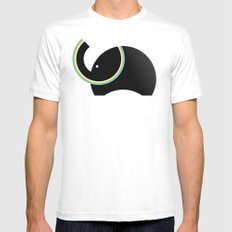 Retro Elephant White MEDIUM Mens Fitted Tee
