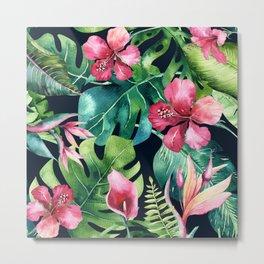 Dark Tropical Hibiscus & Leaves Metal Print