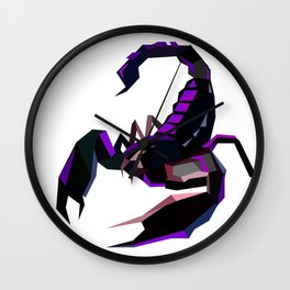 Scorpion geometric Animal  Zodiac sign Black and purple Wall Clock