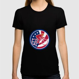 American Cyclist Cycling USA Flag Icon T-shirt