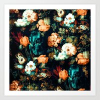 vintage floral Art Prints featuring Vintage Floral by Burcu Korkmazyurek