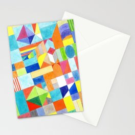Playful Colorful Architectural Pattern Stationery Cards
