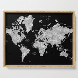 Black and grey watercolor world map with cities Serving Tray