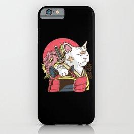 Funny anime Samurai Cat with armor and bruises iPhone Case