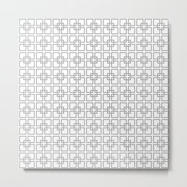 Black Interlocking Geometric Square Pattern on White Metal Print