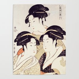 Three Beauties of the Present Day Geisha Print Poster