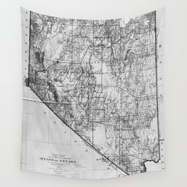 Vintage Map of Nevada (1894) BW Wall Tapestry