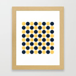 navy and yellow dots Framed Art Print