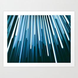 Hyperspace Fiber Optics Blue white Streaks Of Light Art Print