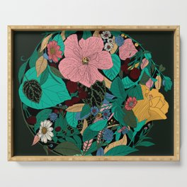Floral Wreath - Botanical, Illustration, Flowers, Spring, Bouquet, Garden Serving Tray