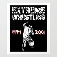 wrestling Art Prints featuring Extreme Wrestling by Darth Paul