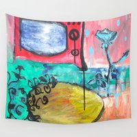 "tv Wall Tapestries featuring ""TV Rose"" by Holly Lynn Clark"