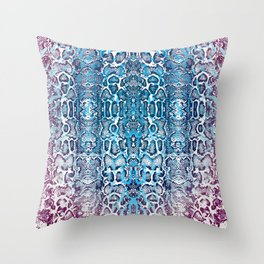 snake skin ombre in teal and burgundy Throw Pillow