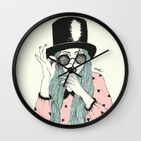 hat Wall Clocks featuring  ''Hat'' by Indi Maverick
