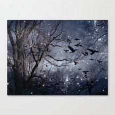 Woodland Crows And Bursting Stars Canvas Print