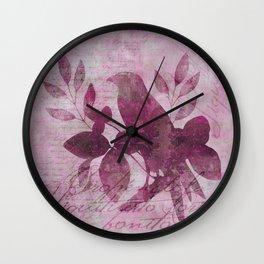 Floral Bird Illustration Wall Clock
