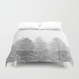 Snow Day // Black and White Winter Landscape Photography Snowing Whiteout Blizzard Duvet Cover