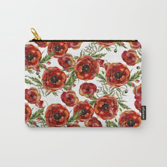 Poppy Pattern On White Background Carry-All Pouch