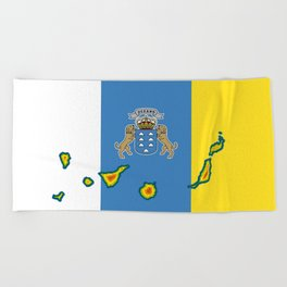 Canary Islands Flag with Map of the Canary Islands Islas Canarias Beach Towel