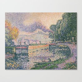 The Tugboat, Canal in Samois Canvas Print