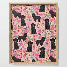 Black Cockapoo Floral dogs, dog blanket, dog mug, cute dog breeds Serving Tray