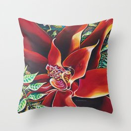 The Red Flower: Julie Northey Throw Pillow