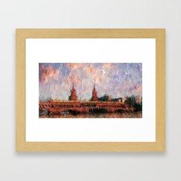 Oberbaumbrücke Berlin City Painting / impressionism style Illustration  / abstract landmarks drawing Framed Art Print