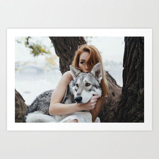 Girl wolf Art Print
