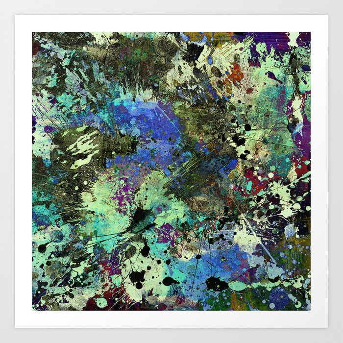 Deep In Thought - Black, blue, purple, white, abstract, acrylic paint splatter artwork Art Print