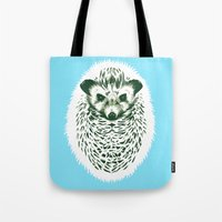 hedgehog Tote Bags featuring hedgehog by barmalisiRTB