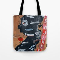 new jersey Tote Bags featuring NEW JERSEY by Christiane Engel