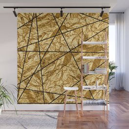 Shiny yellow gold with marble Wall Mural