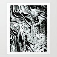 marble black and white minimal suminagashi japanese spilled ink abstract art Art Print