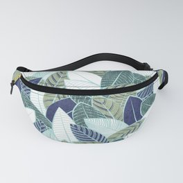 Leaf wall // navy blue pine and sage green leaves mint lines Fanny Pack