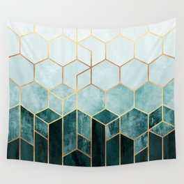 Teal Hexagons Wall Tapestry