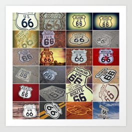 Historic U.S. old Route 66 signs. Art Print